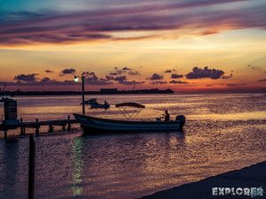 Belize Caye Caulker Sunset Boat Backpacker Backpacking Travel
