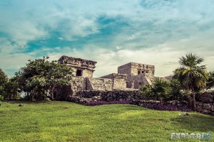 Mexico Tulum Temple Lawn Backpacker Backpacking Travel