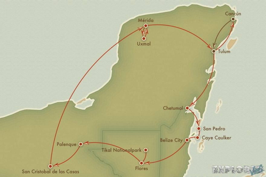 Route Mexico Cancun Tulum Backpacker Backpacking Travel