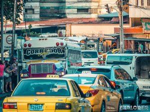 Panama City Traffic Chickenbus Backpacker Backpacking Travel