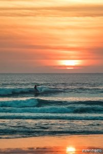 Indonesia Bali Kuta Beach Sunset Surfer Backpacking Backpacker Travel