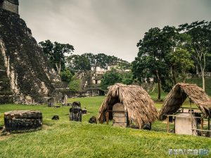 Guatemala Tikal Temple Ruins Huts Backpacker Backpacking Travel