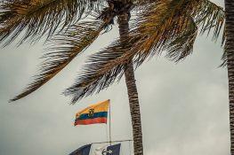 ecuador isabela galapagos beach flag backpacker backpacking travel
