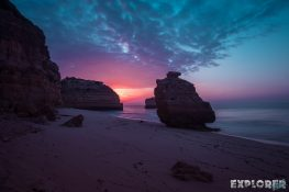 portugal algarve Praia da Marinha Beach Sunrise backpacking backpacker travel
