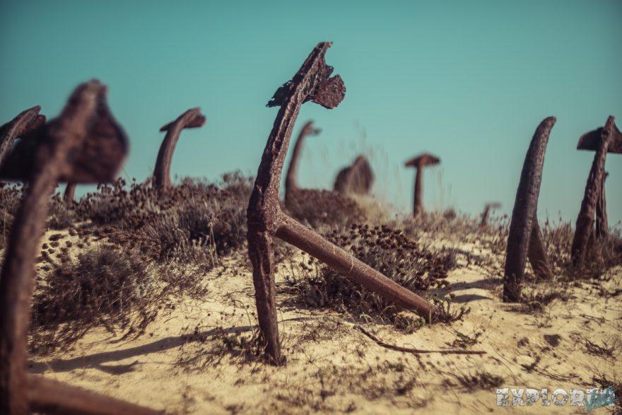 portugal algarve praia do barril cemetery anchors backpacking backpacker travel